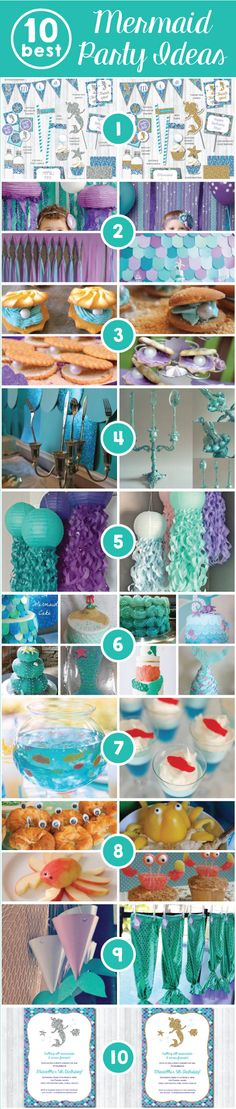 Mermaid Party: Top 10 ideas for a perfect bash under the sea! Little Mermaid Birthday, Little Mermaid Parties, Girl Birthday, Mermaid Baby Showers, Mermaid Kids, Festa Party, 4th Birthday Parties, Birthday Ideas, Mermaid Birthday Party Ideas