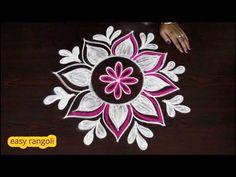 Beautiful freehand rangoli designs with colors || creative kolam designs || muggulu designs - YouTube