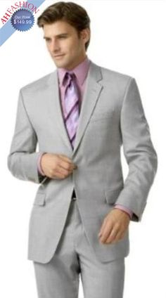 Men's 2-Button Silver Suit