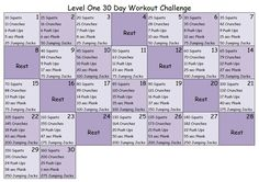30 day workout challenge- level 1 Think I might give it a go! Month Workout, Workout Days, 30 Day Workout Challenge, Challenge Group, Fitness Herausforderungen, Fitness Motivation, Health Fitness, Reto Fitness 30 Dias, Easy Workouts
