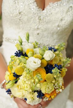 yellow and navy Beautiful Bouquets, Wedding Bouquets, Most Beautiful, Floral Wreath, Wreaths, Table Decorations, Navy, Yellow, Home Decor