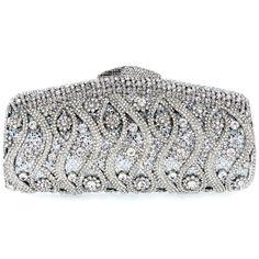 2014 Hot Silver crystal Evening Wedding Bridal Metal purse clutch bag