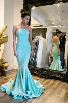Light Blue 2016 Sexy Mermaid Prom Dresses Strapless Formal Evening Party Gowns Vestidos Mermaid Party Cocktail Dresses Size 2-26 & Custom