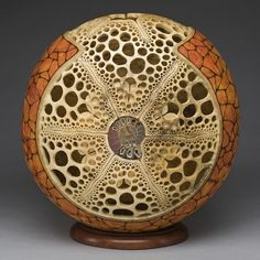 """Ammonite"" 14"" in diameter. Carving by Mark Doolittle; paper applique by Kathy Doolittle. George Post, photography."