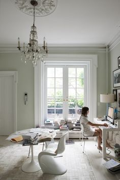 all white bohemian home office inspiration