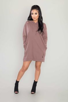 For effortless laid-back style with an edgy kick, add this long-sleeved dress to your collection. Its soft cotton fabrication teamed with a relaxed fit lend it comfort, while the drawstring hood and distressed accents add just the right amount of style. - Also available in other colors  100% cottonHand wash cold  honey punch - 6ID1749A
