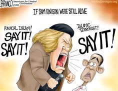 Obama can't say radical Islam. It appears his liberal world view has got his tongue. Political cartoon by A.F.Branco ©2015.