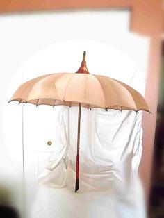 Vintage Umbrella Pagoda / Parasol 1940s Salmon Pink by NanisGarden, $68.95