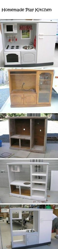 Homemade Play Kitchen- I see these entertainment centers all the time at the thrift store for cheap.  Great idea! by Ana9