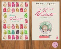 a birth announcement card for Violette by @Cécile // la belette rose