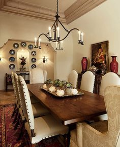 Spanish style homes – Mediterranean Home Decor Dining Room Design, Dining Room Furniture, Dining Room Table, Mexican Dining Room, Tuscan Dining Rooms, Furniture Stores, Room Chairs, Quinta Interior, Style Toscan