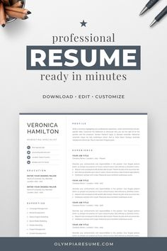 Professional Resume Template for Word One Page Resume Template, Modern Resume Template, Creative Resume Templates, Creative Cv, Free Cover Letter, Cover Letter For Resume, Cover Letter Template, Cv Simple, Simple Resume