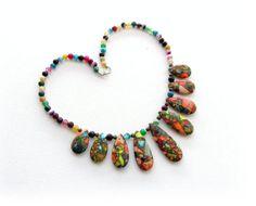 Gemstone Necklace  Multicolored Sea Sediment by CraftsbySigita