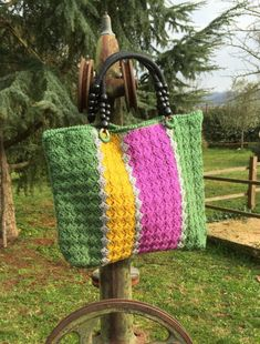 Bag wool crochet multicolored SpRing WinTer bag by JustForYouhm