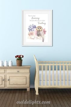 Pretty digital art prints for the nursery #owl #nursery #baby #art #digital #decorate #quote #motivational Keepsake Baby Gifts, Owl Nursery, Baby Art, Cribs, Motivational, Digital Art, Quote, Art Prints, Bed