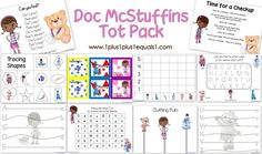 Doc McStuffins Tot Pack ~ Free printables for toddlers, and preschoolers.