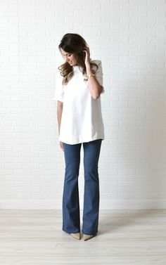 J. Crew top in tall // Gap white skinny jeans in long // Toms