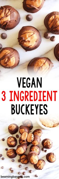 These vegan 3 ingredient buckeyes are a healthy version of the addictive, classic buckeye candy! A sweet peanut butter ball dipped in rich dark chocolate, made with just 3 ingredients and completely fruit sweetened. Clean Dinner Recipes, Clean Eating Dinner, Healthy Vegan Snacks, Vegan Sweets, Vegan Foods, Paleo, Healthy Eating, Keto, Whole Food Recipes