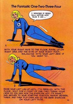 It's nice that Sue Storm's self-esteem is tied into what Dr. Reed thinks about her. | The 10 Funniest Exercises From Marvel Comics' Weird Fitness Book