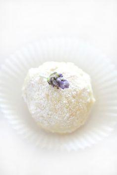 Epicurean Mom: Coconut Lavender Cookie Balls Cookie Desserts, Just Desserts, Cookie Recipes, Dessert Recipes, Lavender Cake, Edible Lavender, Culinary Lavender, Lavander, Lavender Recipes
