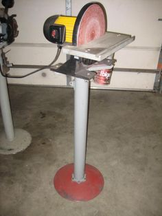 Grinder Stands by 1929CDAN -- Homemade grinder stands adapted from a closed drive tube and a surplus driveshaft. Total cost was under $10. http://www.homemadetools.net/homemade-grinder-stands