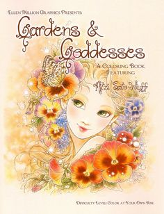 Fantasy Art Coloring Book with 19 Images - Gardens & Goddesses - Advanced Coloring Book for Grownups - Art by Mitzi Sato-Wiuff