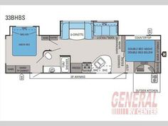 Floorplan - 2015 Jayco White Hawk 33BHBS Travel Trailer   If you are looking for plenty of space with two slides, a u-shaped dinette and two entrances, then you have found your travel trailer in the White Hawk 33BHBS by Jayco. Click To View Additional Photos, Floorplan & Price On This Great Unit From General RV!