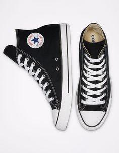 Converse Classic, Black High Top Converse, Black High Top Shoes, Black High Tops, Black Converse Shoes, Womens Converse High Tops, Converse Black Sneakers, Hi Top Converse, Platform Converse