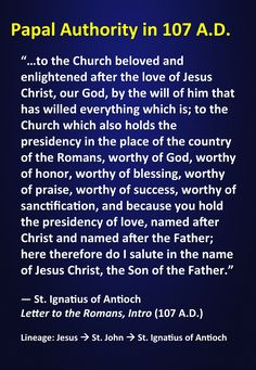 St. Ignatius of Antioch on the papacy