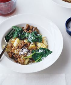 Gnocchi with Sausage and Spinach...rich, go easy on the salt, experiment with different flavors of sausage (we do sweet turkey sausage but have tried chicken apple sausage and it was good) regardless it is proven yummmm