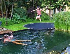 Cool trampoline pool idea!