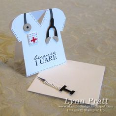 Nurse's Box & Cards by lpratt - Cards and Paper Crafts at Splitcoaststampers Stampin Up Karten, Stampin Up Cards, Cute Cards, Diy Cards, Sympathy Cards, Greeting Cards, Punch Art Cards, Shaped Cards, Get Well Cards
