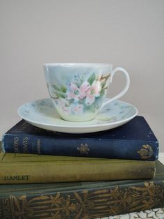 Tea Cup and Saucer  Handpainted Dogwood by DuryeaPlaceDesigns,