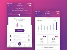 app for medical research designed by Andra Margoi. Clover App, Take Surveys, Medical Research, Appointments, Bar Chart, How Are You Feeling, Feelings, Bar Graphs