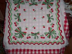 Vintage Tablecloth CHERRIES BOWS COTTAGE green polka dots red ruffles mint wow