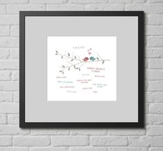 Personalised Print - Family Tree. This personalised typographic art print is a lovely gift for your family, or for extended family and friends. This elegant graphic displays the names of the immediate family, and extended brothers, sister, cousins, sons, daughter, grandparents (anyone you want).