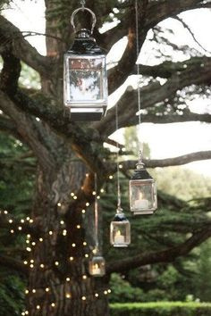 must have a pic like this at my wedding Hanging lanterns & twinkle lights for a whimsical atmosphere. wedding cake B. Tuscan Wedding, Rustic Wedding, Our Wedding, Dream Wedding, Wedding Ceremony, Outdoor Ceremony, Ceremony Backdrop, Garden Wedding Decorations, Decor Wedding