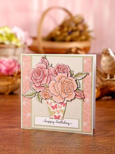 Create this card using Stampendous! Rose Bouquet stamps & die set, Clearly Besotted Stamps Sweet Little Sentiments stamps & digital papers Polka Dot Paper, Rose Vase, Small Rose, Butterfly Pattern, Happy Birthday Cards, Rose Bouquet, Blank Cards, Rose Buds, Card Stock