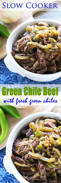 Slow Cooker Green Chile Beef using fresh green chiles. The smell while it is cooking will drive your tastebuds crazy! From The Stay At Home Chef