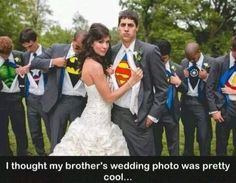 Bride gets to be a princess and the groom a superhero. I really love this photo.