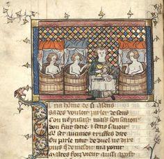 """Le dit des trois chanoinesses de Cologne (f°84v) -- «Les dits de Watriquet de Couvin», par le scribe """"au long nez"""" (Rouse), miniatures attribuées au Maître de Watriquet, avant 1329, France [BNF, Arsenal Ms 3225] -- «Ci comence le dit des .III. chanoinesses de Couloigne.» -- See more at: https://archive.org/details/ditsdewatriquetd00watruoft"""