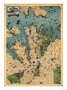 Sydney, Australia - Panoramic Map Poster bei AllPosters.de