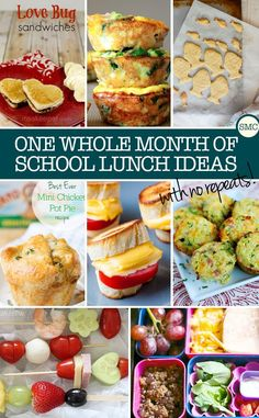 One full month of school lunch ideas with ZERO repeats!
