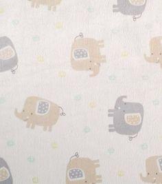 Nursery Fabric Elephants On Beige Soft