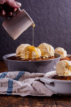 South African malva pudding with easy frozen custard