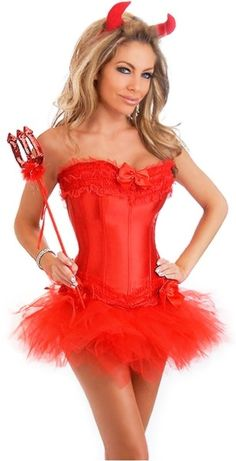 2016 Sexy Steampunk Satin Lingerie Lace Corset Top + G-string + Skirt Bustier Mini Tutu Wedding Dress Costume Plus Size Corsets Gothic Corset Dresses, Red Corset, Burlesque Corset, Lace Corset, Overbust Corset, Sexy Costumes For Women, Sexy Halloween Costumes, Halloween Clothes, Halloween Queen
