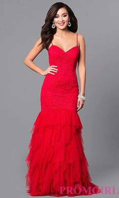 Long Red Lace V-Neck Prom Dress with Tulle Skirt