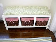 Along the same lines as I'm thinking for the nook bench - storage bins/baskets for gloves, scarves, etc