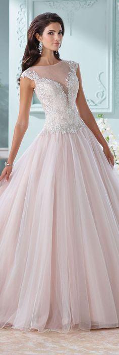 The David Tutera for Mon Cheri Spring 2016 Wedding Gown Collection - Style No. 116203 Idalia #tulleandlaceweddingdresses