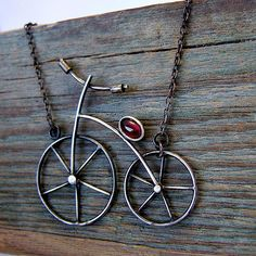 """Fair Masters - handmade silver necklace """"I'll be a long drive a bicycle . Handmade Beads, Handmade Silver, Handmade Jewelry, Art Haus, Metal Clay Jewelry, Bike Design, Wire Art, Wire Wrapped Jewelry, Making Ideas"""